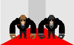 Security Guards of a gorilla. Big Bodyguards Primates in costumes. Vector ill Stock Illustration