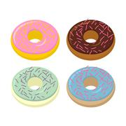 Set doughnuts. Sweets with different flavors: chocolate and vanilla. Vector i - stock illustration
