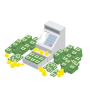 Open Cash Register Machine with a lot of money. Seller box to store proceeds  Piirros