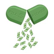 Pill for  rich. Medicine for wealth. In  tablet a lot of money, cash. Vector  - stock illustration