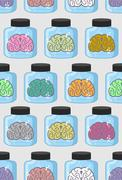 Laboratory examination  brains seamless pattern in jar. Color organs brains v Stock Illustration