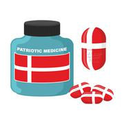 Stock Illustration of Patriotic medicine in Denmark. Pills with  Danish flag. Vector illustration.
