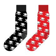 Black and Red socks with skull. Vector illustration accessories clothing for  - stock illustration