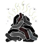 Stock Illustration of Mount old dirty socks, with flies. Vector illustration