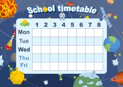 Schedule. School timetable on theme of space and Galaxy. Vetkor illustration. Piirros
