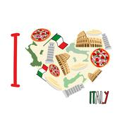 I love Italy. Symbol heart of   attractions of Italy: pizza and pasta, Coloss - stock illustration