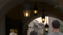 Arcade with old ceiling lamps in Krakow Stock Footage