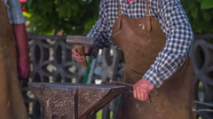 Iron forging on fair Stock Footage