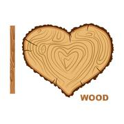 I love wood. Cutting tree as a symbol of heart. Vector illustration. Wood rin Piirros
