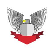 White Hawk with shield and red Ribbon. Bird and shield heraldic symbol. Vecto Stock Illustration