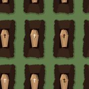 Top view of cemetery. seamless pattern coffins. Vector illustration of burial Stock Illustration