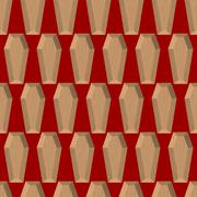 Coffins seamless pattern on a red background. Wooden coffin. Vector backgroun Piirros