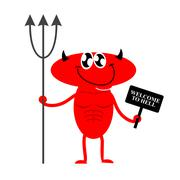 Stock Illustration of Welcome to hell. Cute Red Devil holding a sign and Trident. Devil invites you