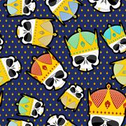 Skull Crown Seamless pattern. Vector background for Kings of streets. Stock Illustration