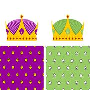 Royal Set: seamless pattern for mantle and a Golden Crown for King. Vector il Stock Illustration