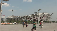 Birds Nest National Stadium, Beijing, China Stock Footage