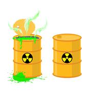 Barrel of acid. Vector illustration open drums with dangerous green liquid. Stock Illustration