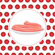 Red Tomato spaghetti against backdrop of a tomato. Vector illustration pasta. - stock illustration