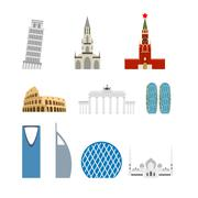 Set landmark Germany, Russia. Attraction of Dubai, Rome. Architecture attract - stock illustration