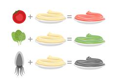 Assorted color pasta. Spaghetti and spinach-green paste. Spaghetti and tomato - stock illustration