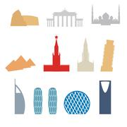 Set of flat buildings icons countries. Attraction of Dubai, Rome. Russia and  - stock illustration