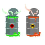 Barrel of toxic waste. Biohazard open container. Grey with red barrel of radi Stock Illustration