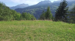 Flight in a valley in Switzerland Stock Footage