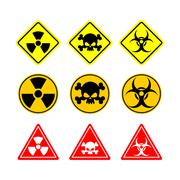 Set sign Biohazard, toxicity, dangerous. Yellow signs of various shapes: circ Stock Illustration