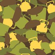 Military texture of kitchen utensils. Camouflage army seamless pattern from p Stock Illustration