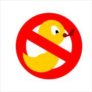 Banning sign. Yellow rubber duck for bathing crossed. Dont quack. You cannot  Stock Illustration