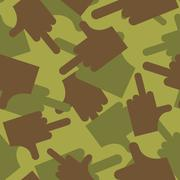 Army pattern to fuck. Military camouflage texture Vector hand with finger- fu - stock illustration