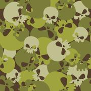Military texture of skulls. Camouflage army seamless pattern from head skelet Stock Illustration