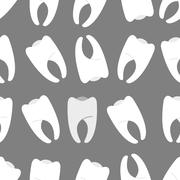 White teeth on a grey background seamless pattern. Ornament for dentist Cabin - stock illustration