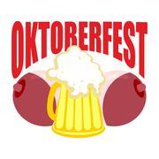 Oktoberfest. Beer mug between tits. Symbol of Beer Festival in Germany. Piirros