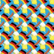 Beer mug and  flag of Germany. Seamless pattern of symbol Oktoberfest. Vector Stock Illustration