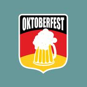 Coat of arms of Oktoberfest. Flag of Germany and a mug of beer. Vector illust Stock Illustration