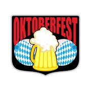 Sign, logo for Oktoberfest. Womens boobs and mug of beer. Symbols Beer Festiv - stock illustration