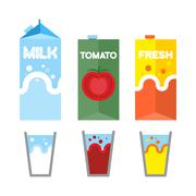Stock Illustration of Set drinks in package. Milk, tomato juice, and fresh. Glasses for drinks. Vec