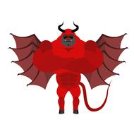 Strong Satan. Red demon with horns and wearing sunglasses. Big and strong Dev Piirros