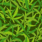 Cannabis leafs seamless pattern. Vector background of narcotic plants - stock illustration