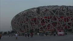 Beijing Birds Nest Stadium at dusk Stock Footage