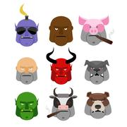 Set Serious head. Evil muzzles of animals and people. Terrible head dogs and  Stock Illustration