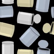 Cans trash vector background. Seamless pattern Tin Stock Illustration