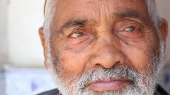Portrait Indian man. Srinagar, Kashmir, India. Close up Stock Footage