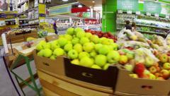 Fruits and vegetables market, steadicam shot - stock footage