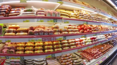 Shelves with food in supermarket, steadicam shot - stock footage
