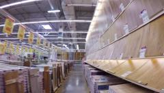 Flooring materials at home improvement store, steadicam shot Stock Footage