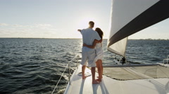 Young Caucasian Male Female Couple Holiday Tourism Yacht Casual Sailing - stock footage