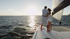 Caucasian Couple Casual Together Luxury Lifestyle Yacht Tourism Promotion - stock footage