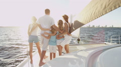 Healthy Caucasian Parents Daughters Outdoor Living Luxury Yacht Stock Footage
